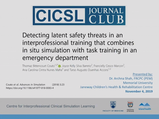 Detecting latent safety threats in an interprofessional training that combines in situ simulation with task training in an emergency department